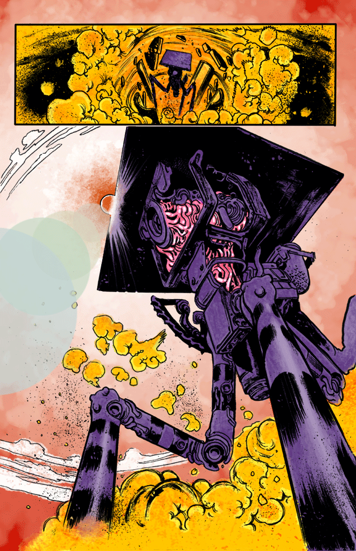 Lastly I added some shine in the entrails. I also wanted to try out a glare from the sun. Never tried it before so I though I would start on the top layer, above the inks, give the circles a transparency and color them in a spectrum.