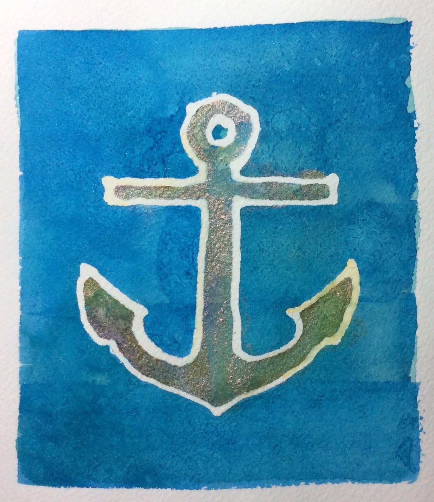 """""""Anchor"""" Art journal, watercolour, 5 x 5.5"""""""