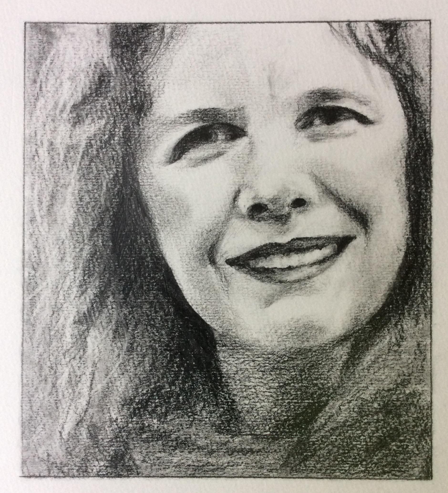 """Alison"" Art journal, pencil, 6 X 7"""