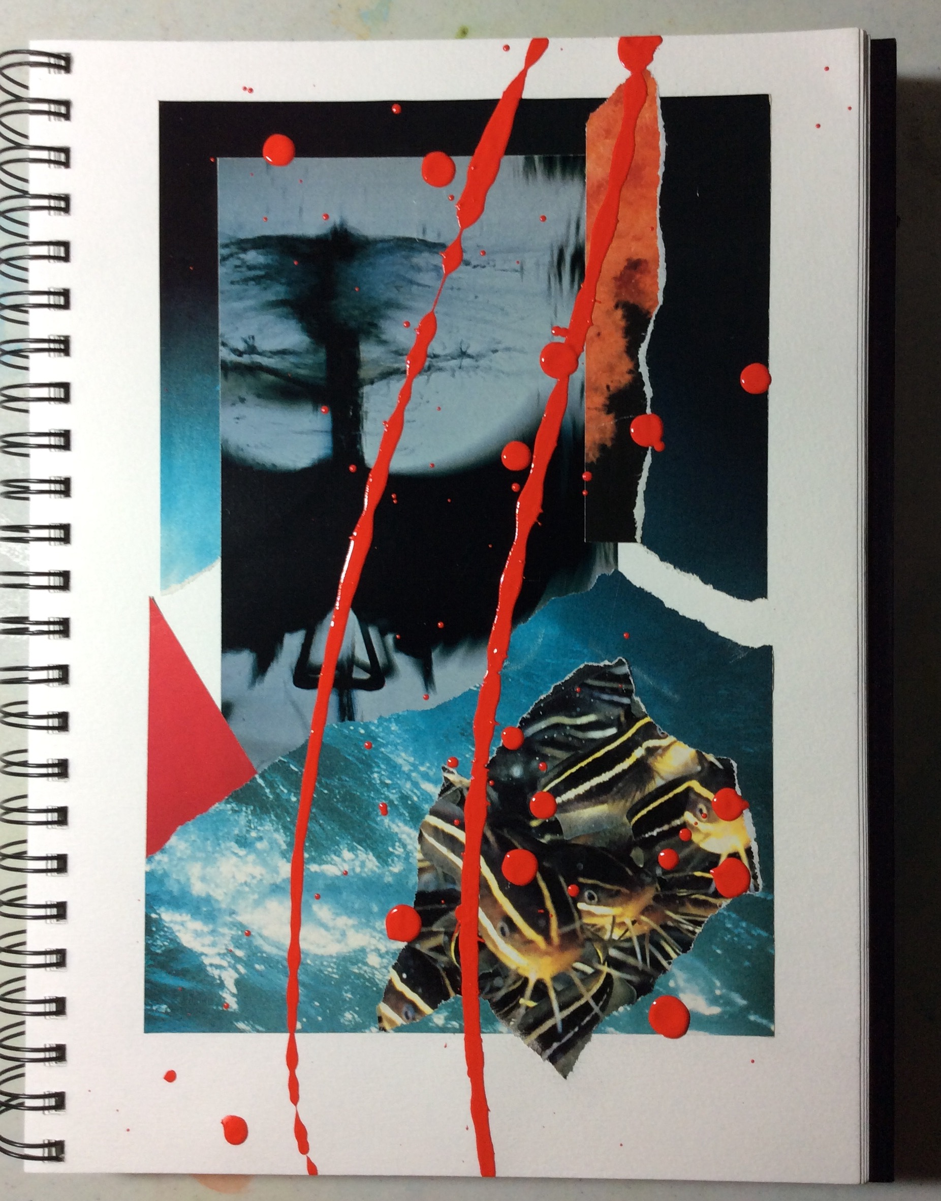 """""""False accusation"""" Art journal, mixed media, 9 x 12"""""""