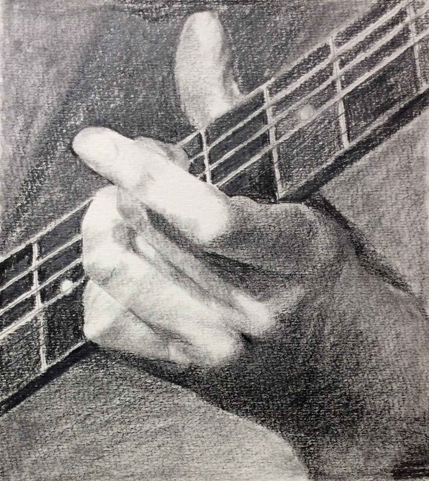"""""""My Left Hand"""" Art journal, pencil, 6.5 x 7"""""""
