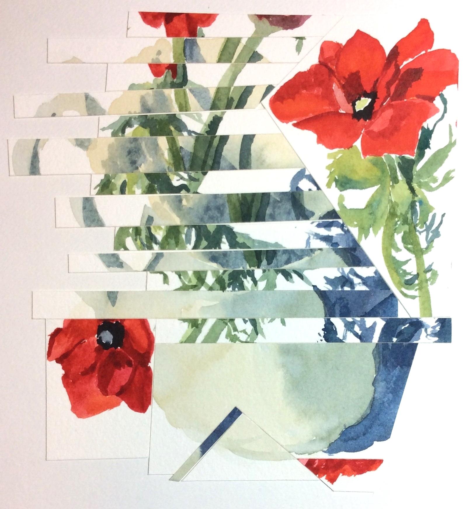 """Poppycock"" Art journal, watercolour collage, 7.5 x 8"""