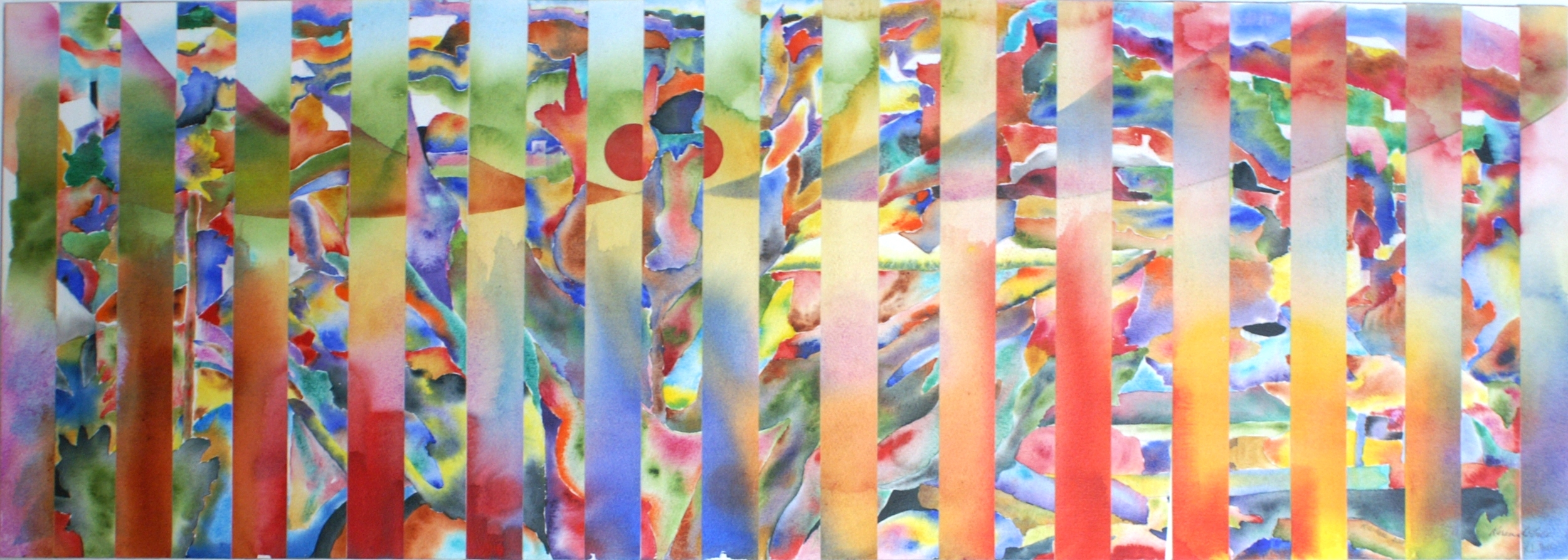"""""""View from the Hill""""  Watercolour collage, 40 x 14"""""""