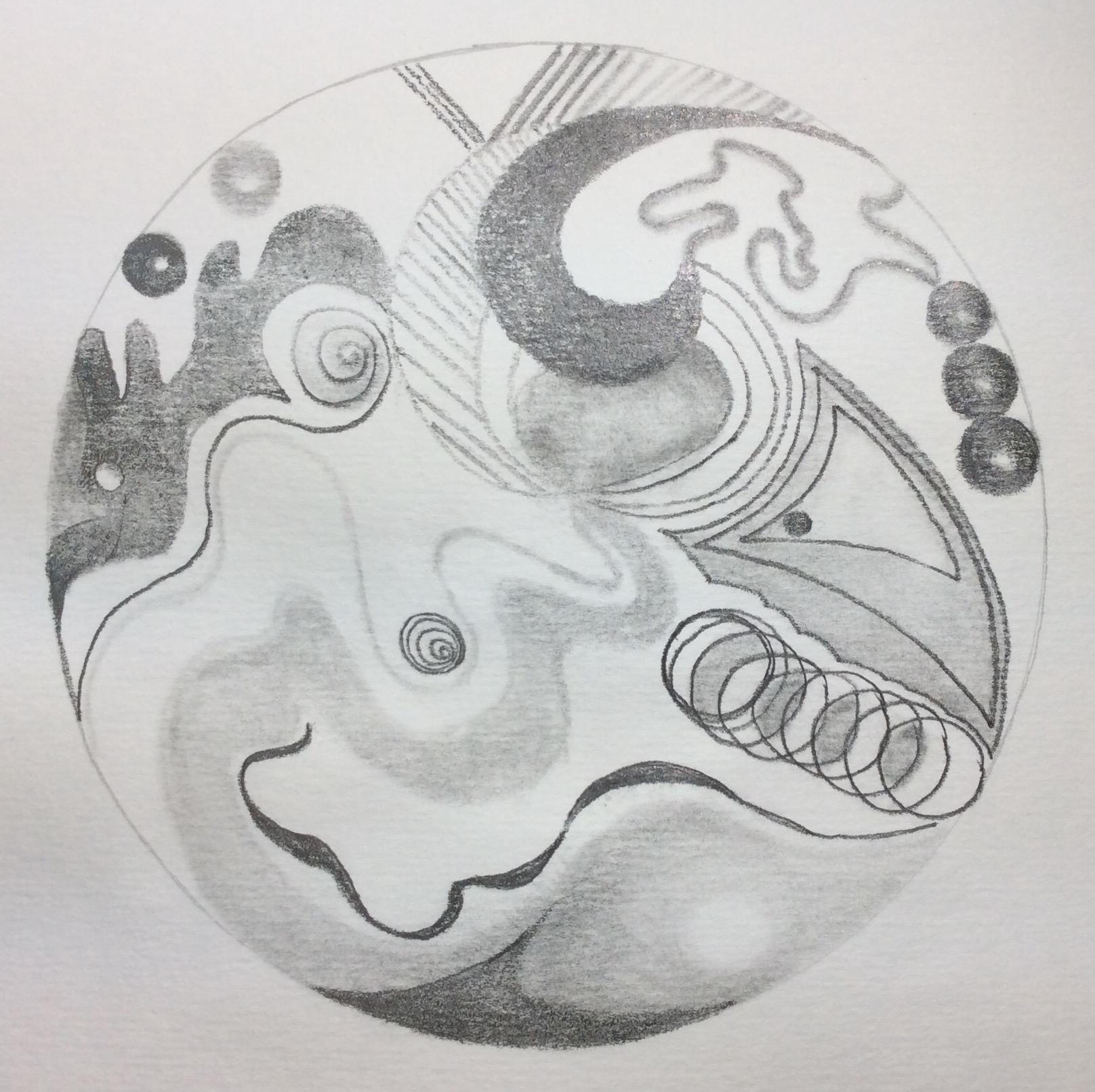 """Above and Below"" Saturday Night Mandala, Art journal, pencil"