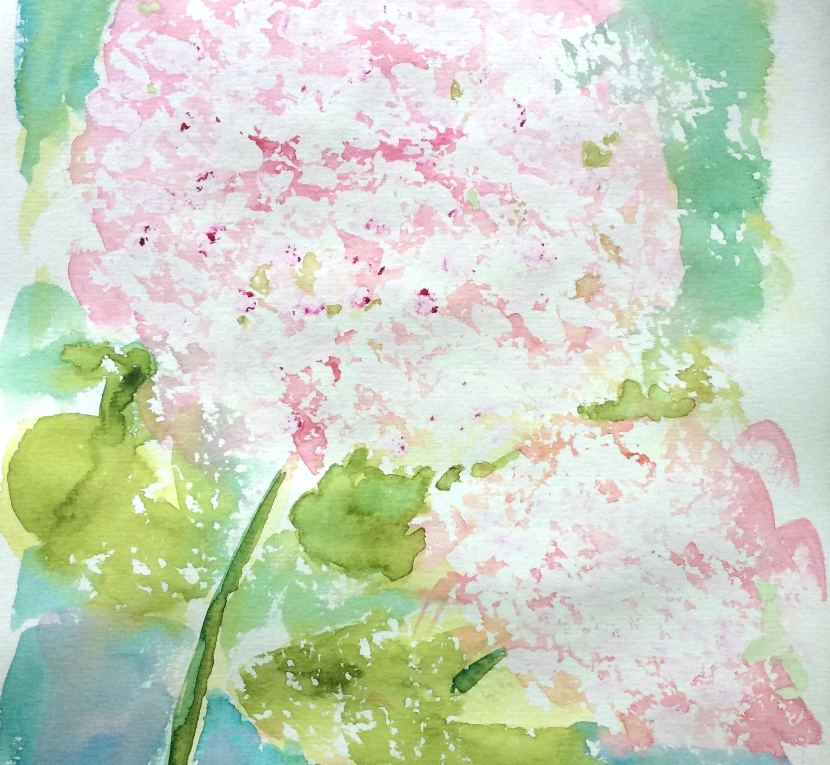 """Imagined Hydrangeas"" Art journal, watercolour."