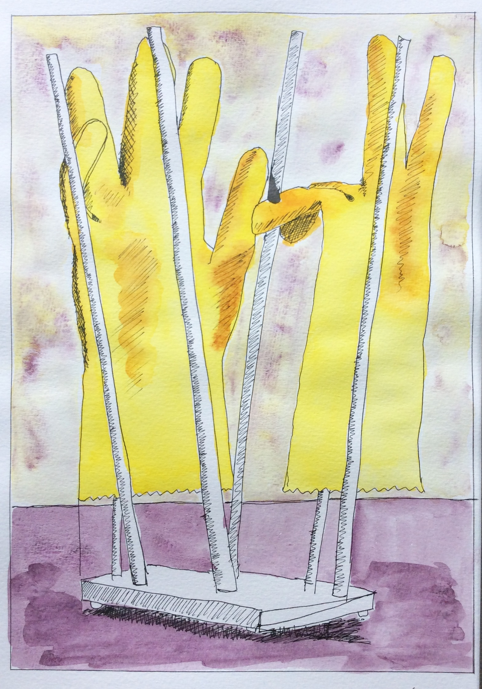 """""""Dishes Done"""" Art journal, ink and watercolour"""