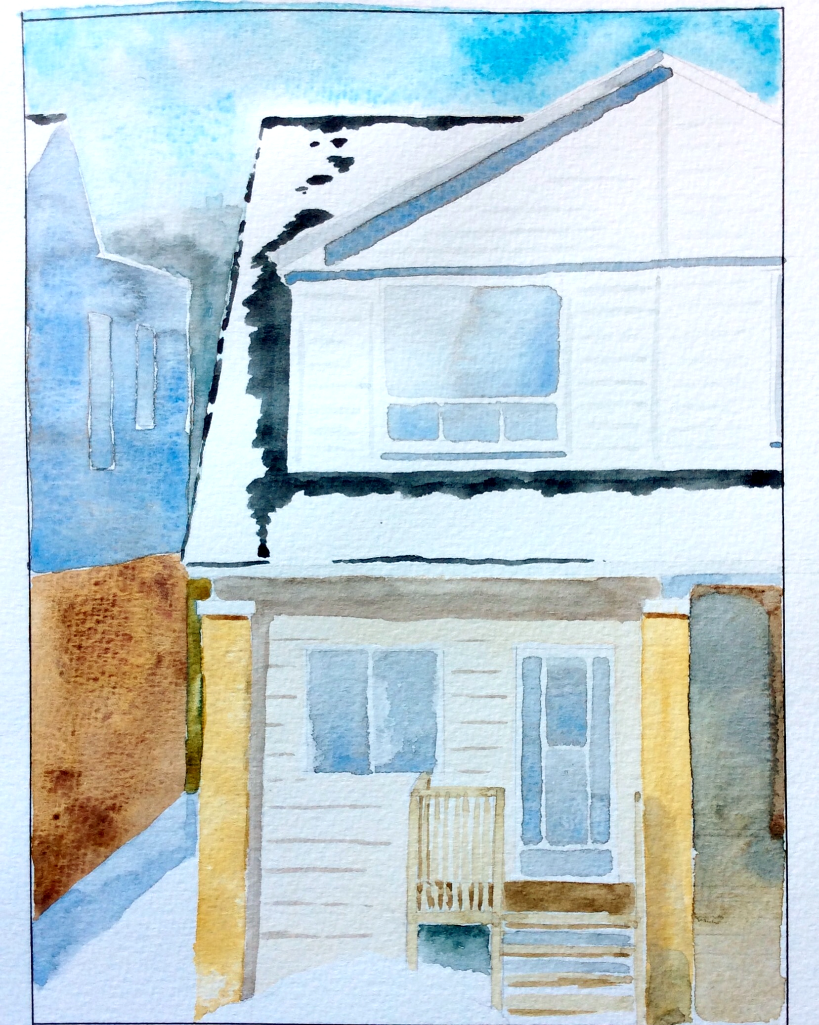 """The House Across the Street""  Art journal, watercolour."
