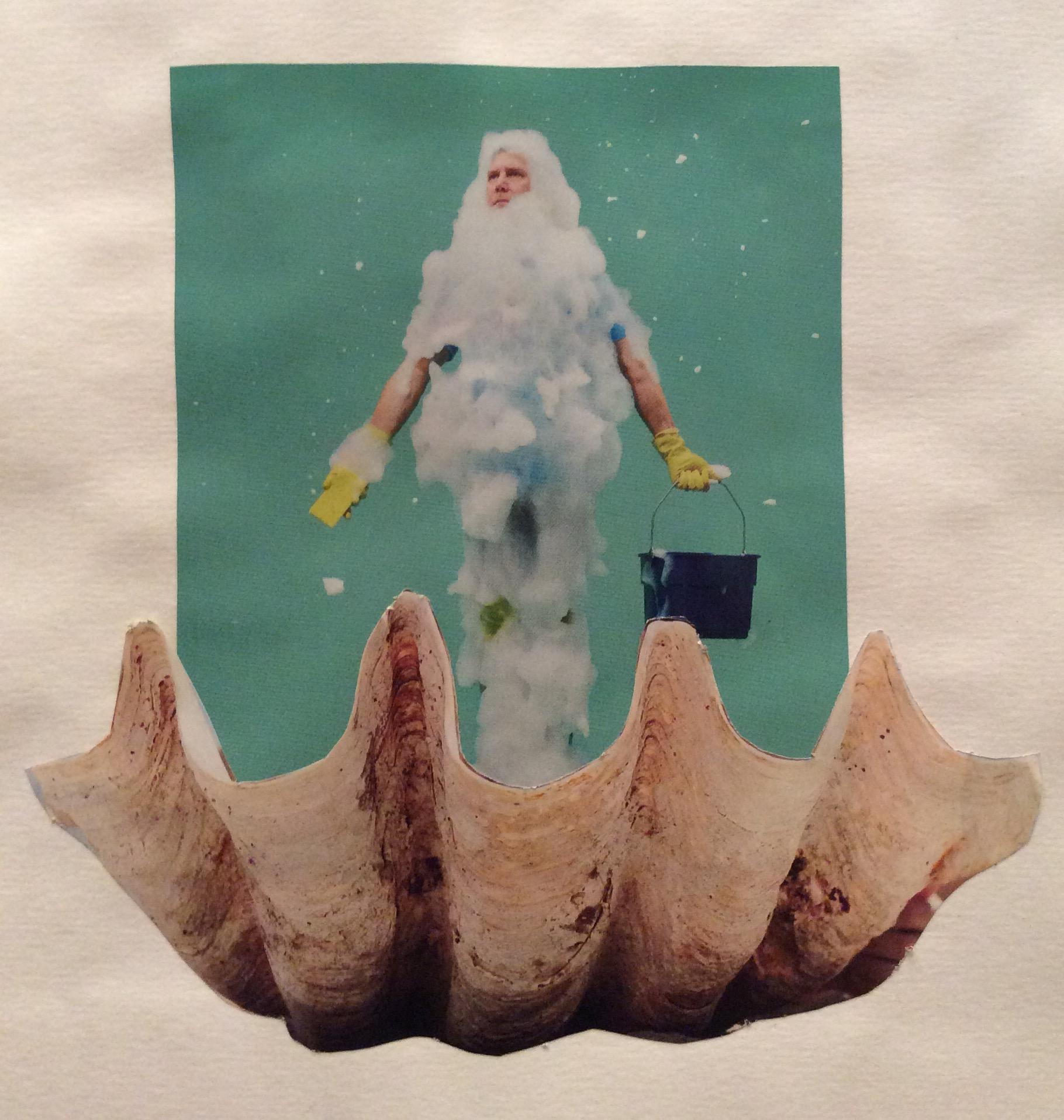 """""""Birth of Clean-us"""" Art journal, magazine collage."""