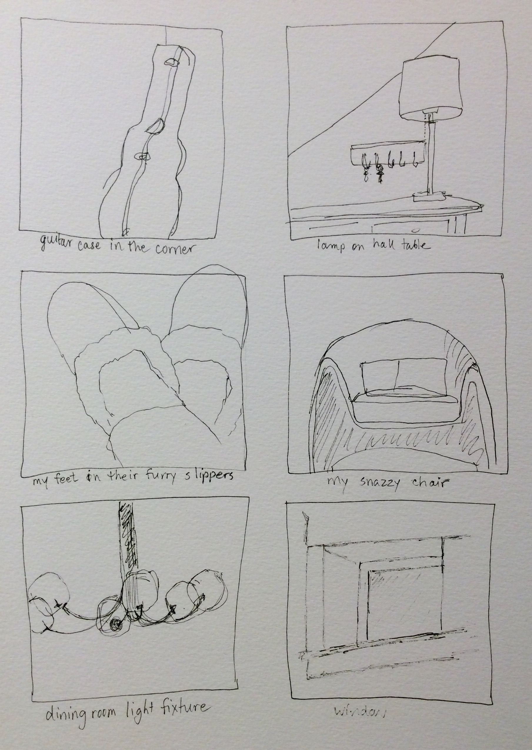 Six one-minute sketches, art journal, ink