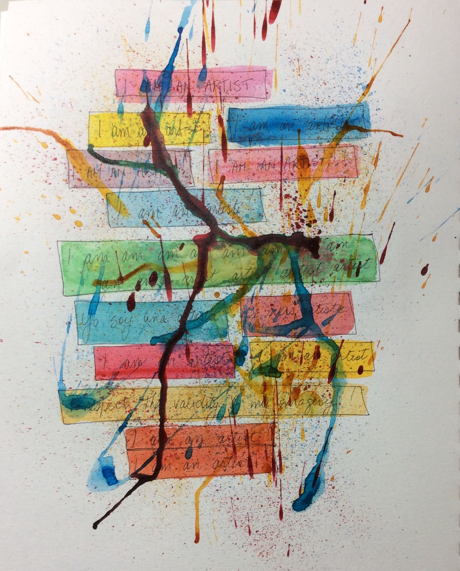 """""""Affirmations"""" Art journal, ink and watercolour"""