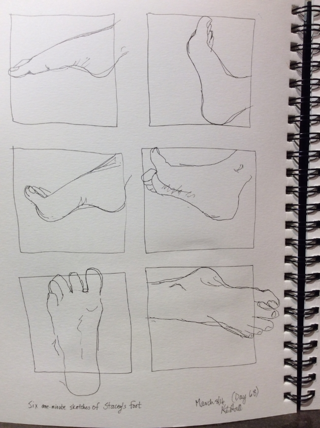 """""""Six one-minute sketches of Stacey's foot""""  Art journal, ink"""