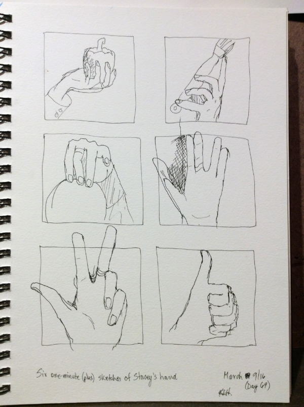 """""""Six one-minute (plus) sketches of Stacey's hand"""" Art journal, ink."""