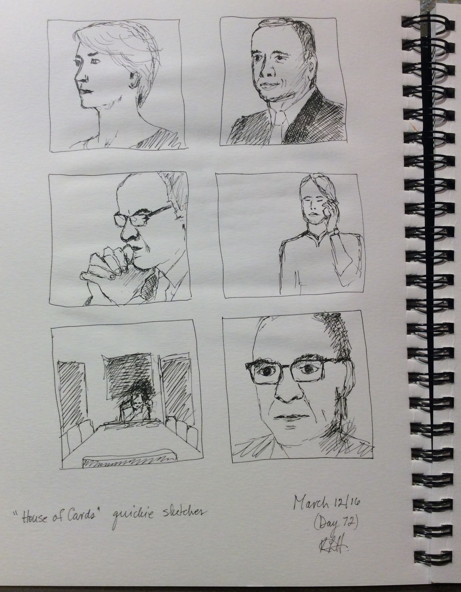 """House of Cards quickie sketches""  Art journal, ink"