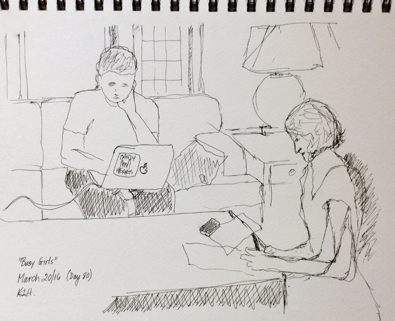 """Busy Girls"" Art journal, ink"