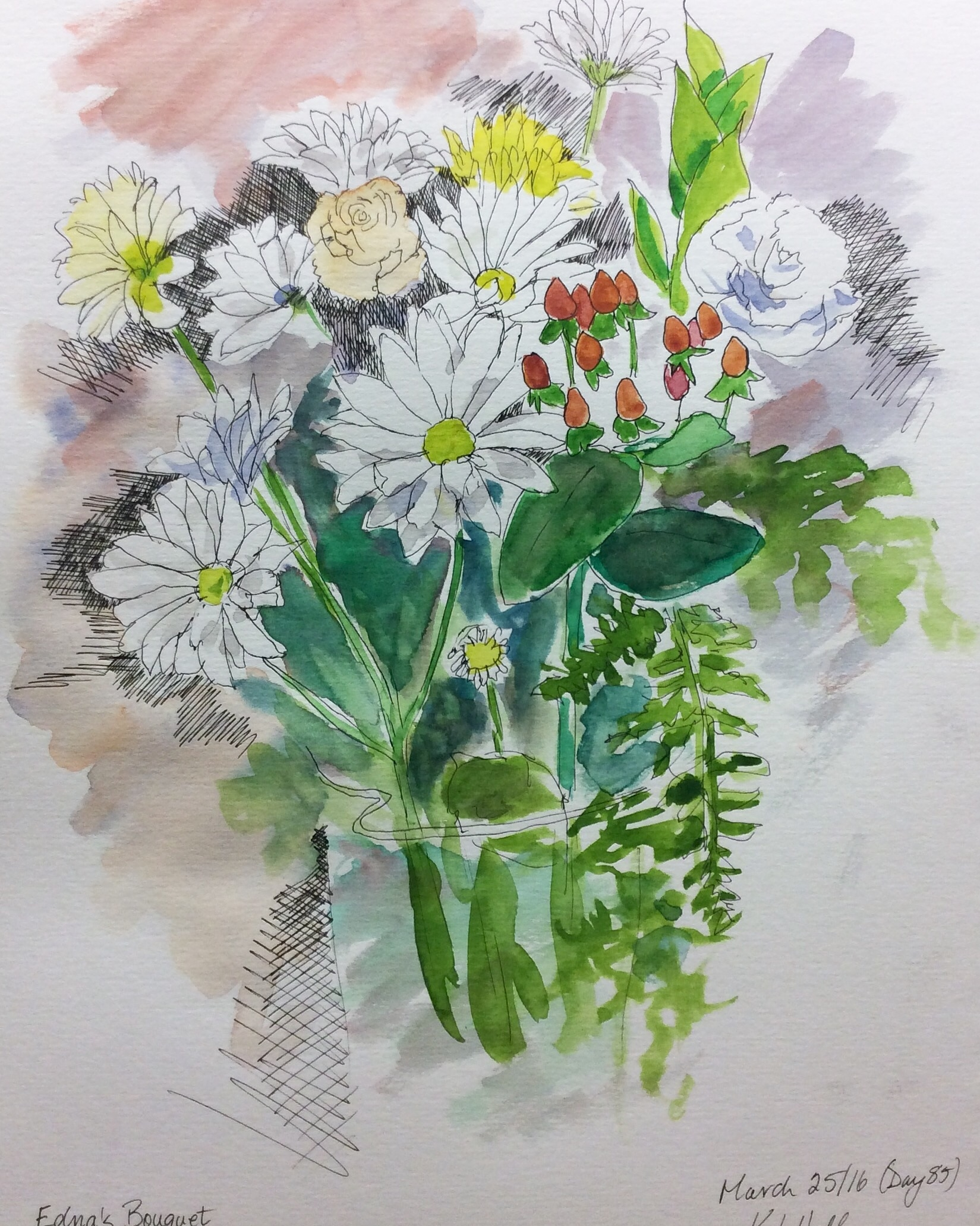 """""""Edna's Bouquet"""". Art journal, watercolour and ink."""