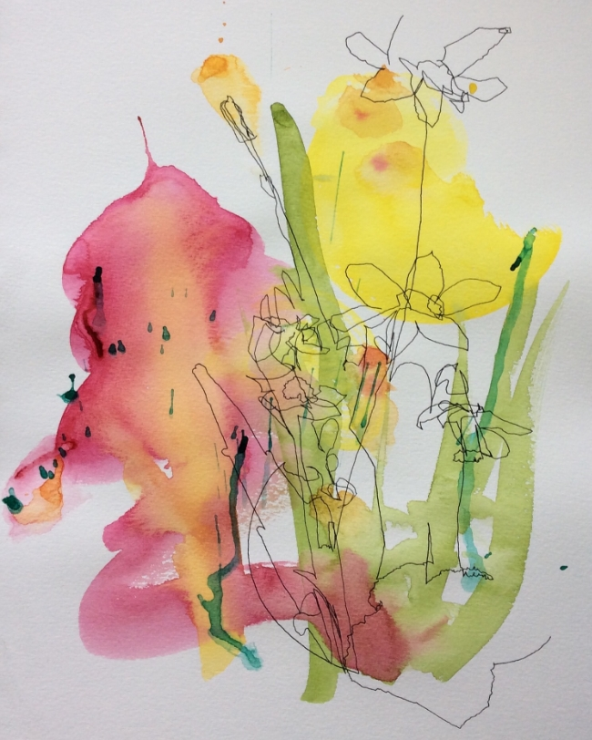 """""""Spring Forward"""" Art journal, ink and watercolour."""