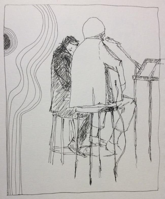 """David Barrett and Mark Holmes at The Orbit Room"" Art journal, ink"