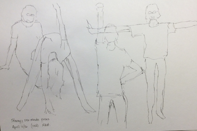 """Stacey: one-minute poses""  Art journal, ink"