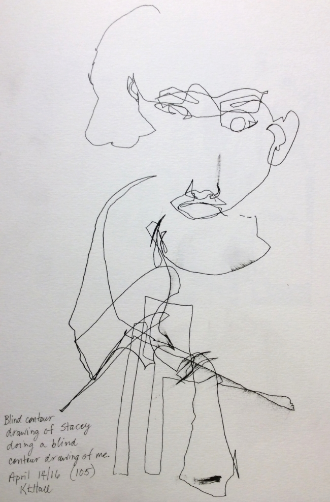 """""""Blind contour drawing of Stacey doing a blind contour drawing of me"""" Art journal, ink."""