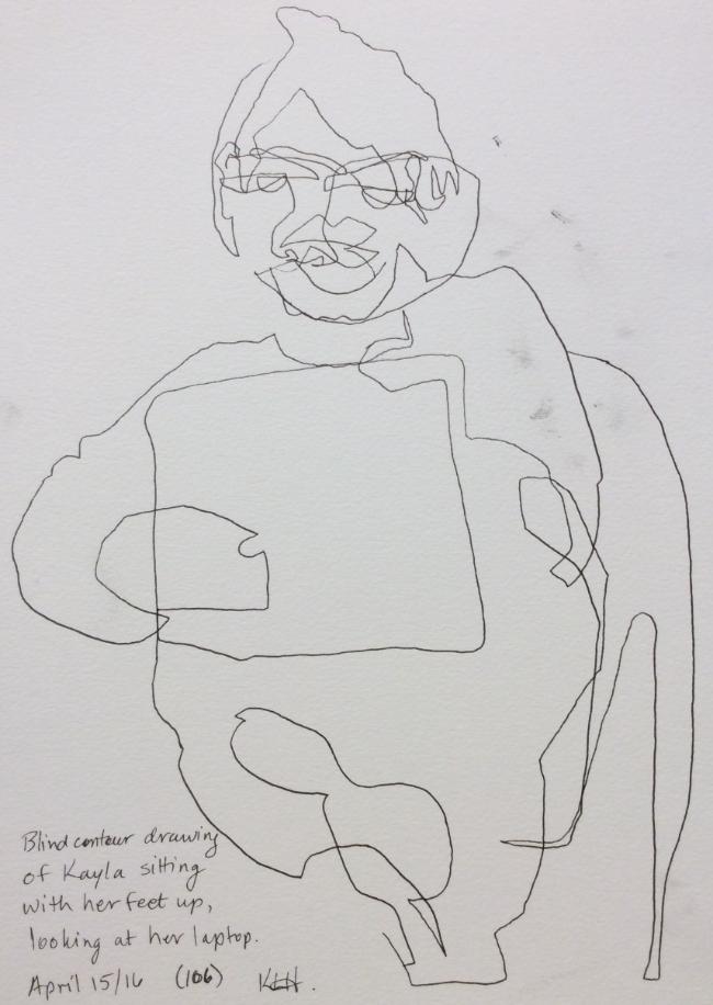 """Blind contour drawing of Kayla..."" Art journal, ink"