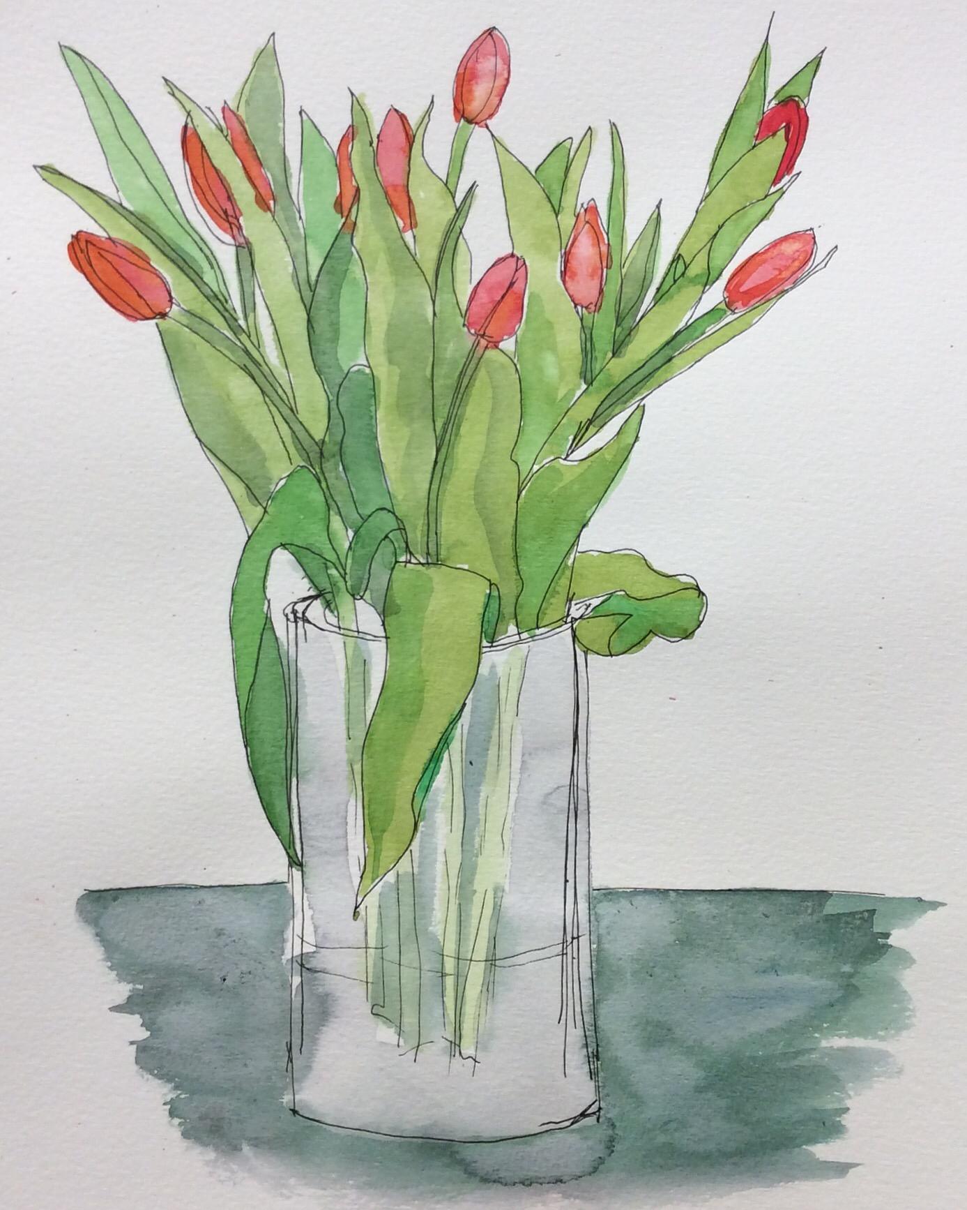 """Kayla's Birthday Tulips"". Art journal, ink and watercolour"
