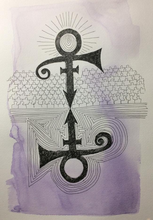 """""""Choir! Choir! Choir! Remembers Prince"""" Art journal, ink and watercolour"""