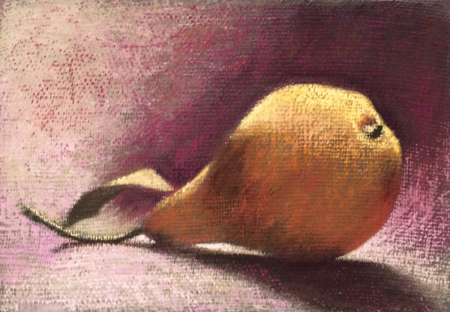 """Pear 46""  Pastel on cheesecloth, 7 x 10"""
