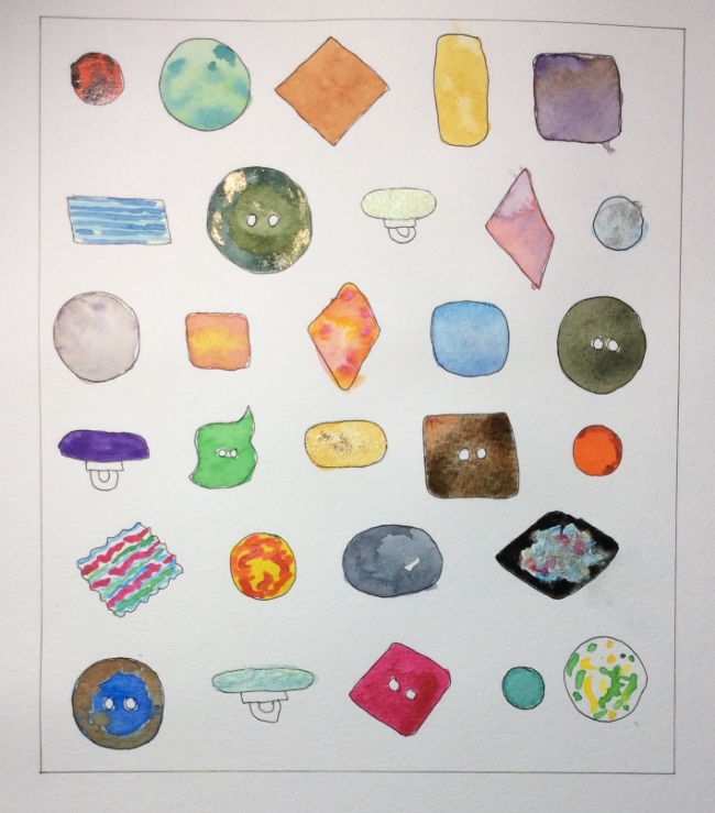 """""""Buttons!"""" Art journal, watercolour and ink."""