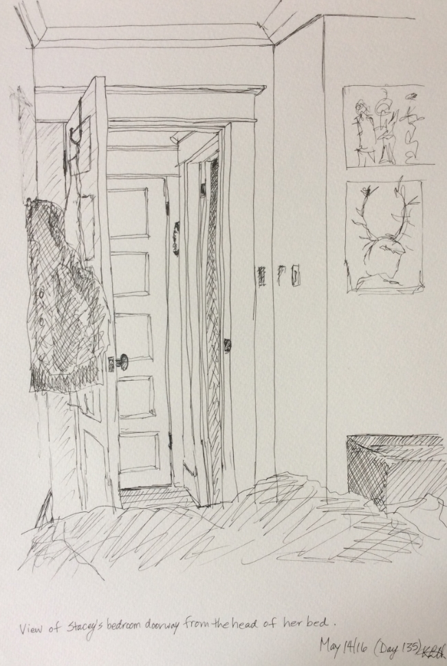 """""""View of Stacey's bedroom doorway from the head of her bed"""" Art journal, ink"""
