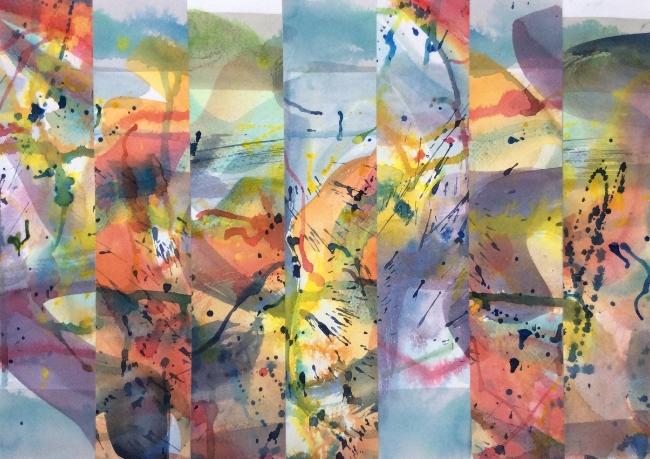 "Title TBD. Watercolour collage, 14 x 19"""