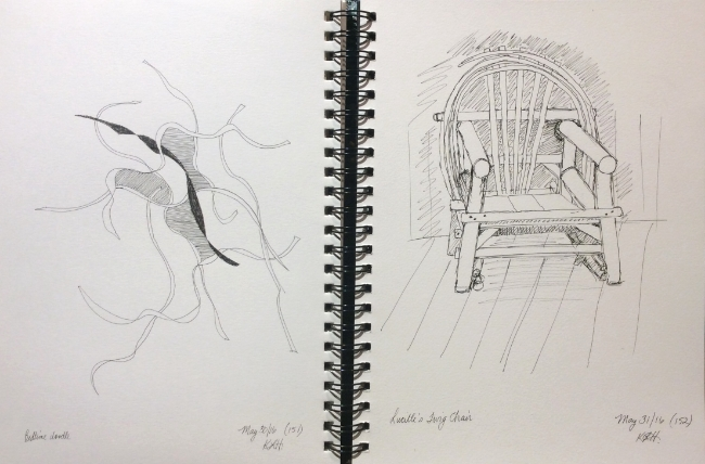 """""""Bedtime Doodle"""" and """"Lucille's Twig Chair"""" Art journal, ink"""