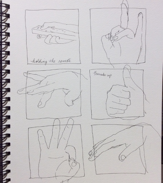 One-minute sketches of Kayla's hand.  Art journal, ink