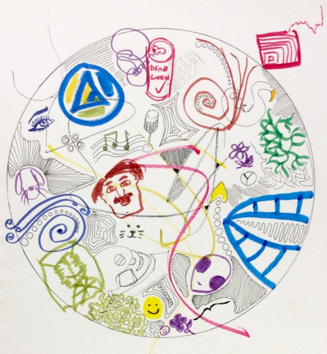 """""""Robbins Cul-de-Sac Party Mandala with Participation by Neighbours"""" Art journal, ink and markers"""