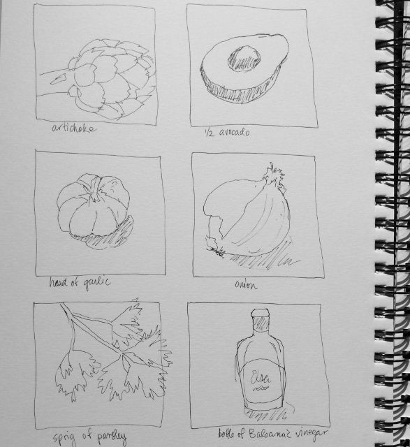 """One-minute ingredients sketches""  Art journal, ink"