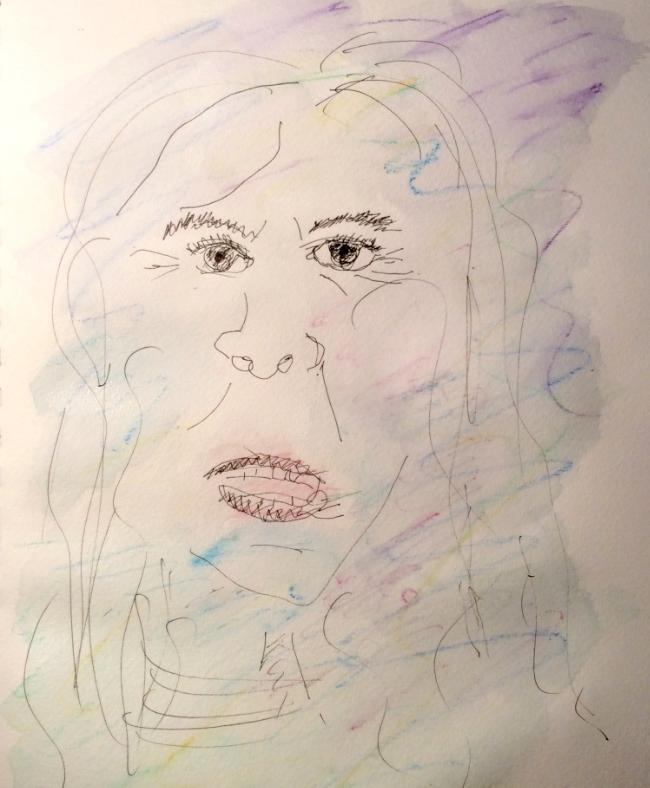 """Deadline Doodle"" Art journal, ink and watercolour pencils"