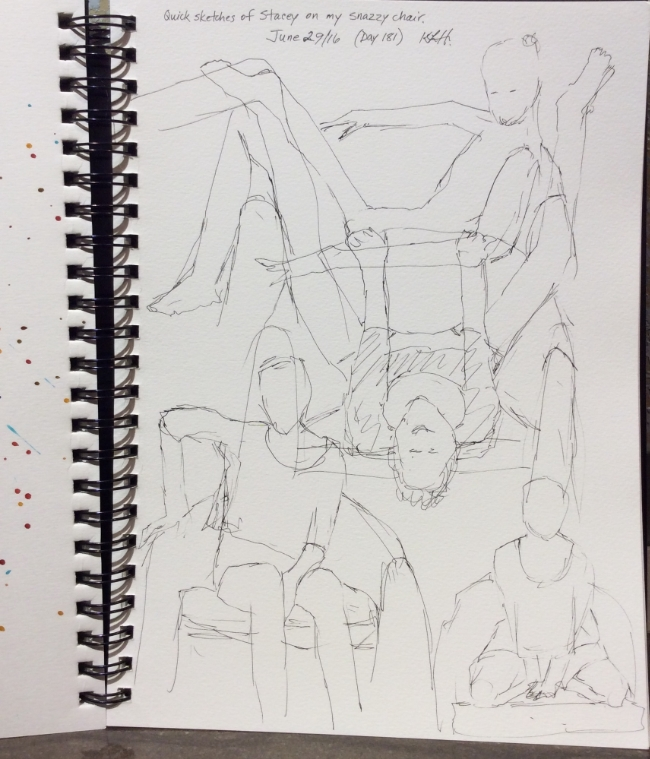 Quick sketches of Stacey posing in my snazzy chair. Art journal, ink.