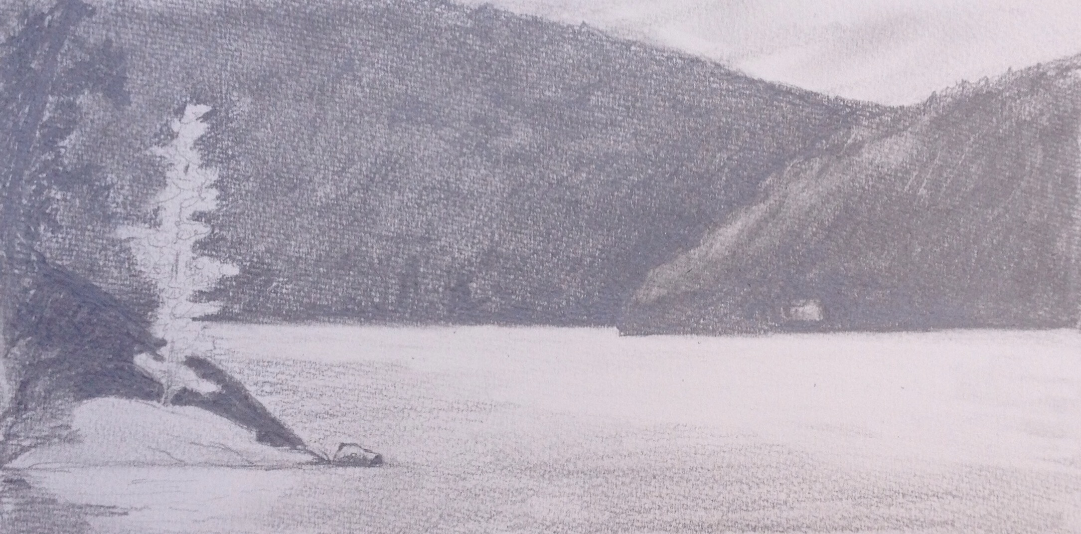 """""""View from the Dock on a Calm Morning, Grand Lake"""". Art journal, pencil"""