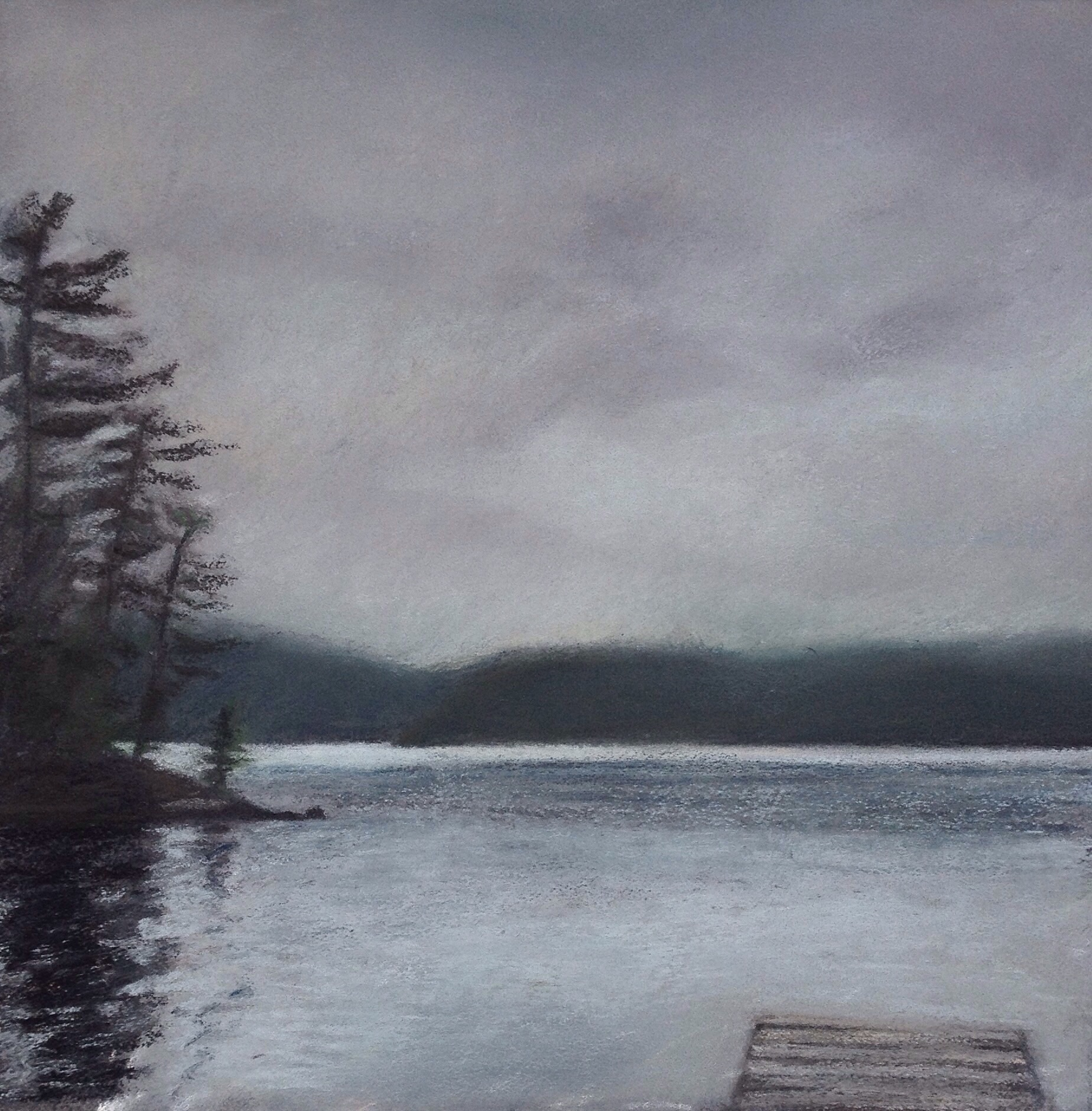 """Rainy Day on Grand Lake"". Pastel, 8x8"""