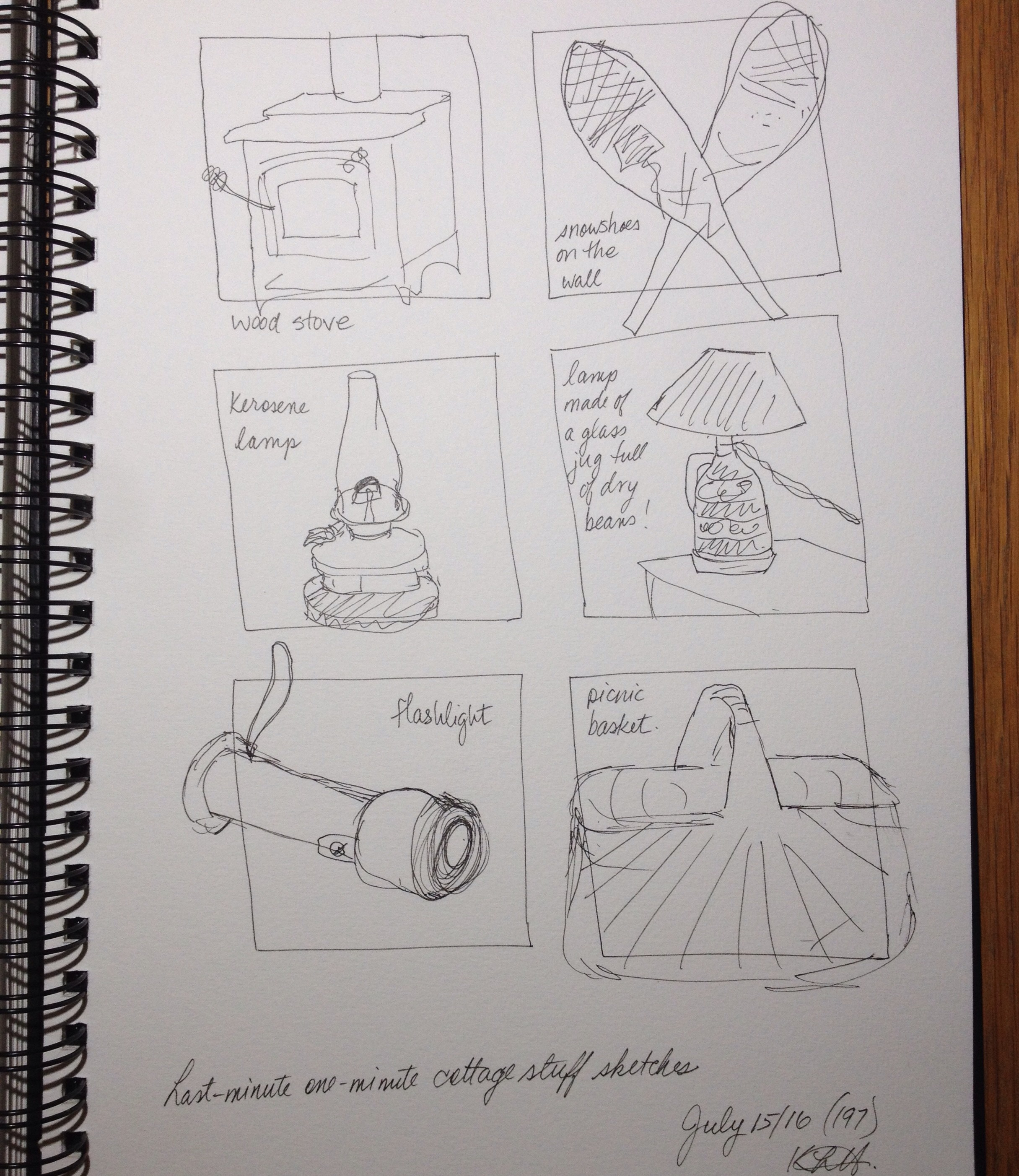 """""""Last-minute one-minute cottage stuff sketches"""". Art journal, ink"""