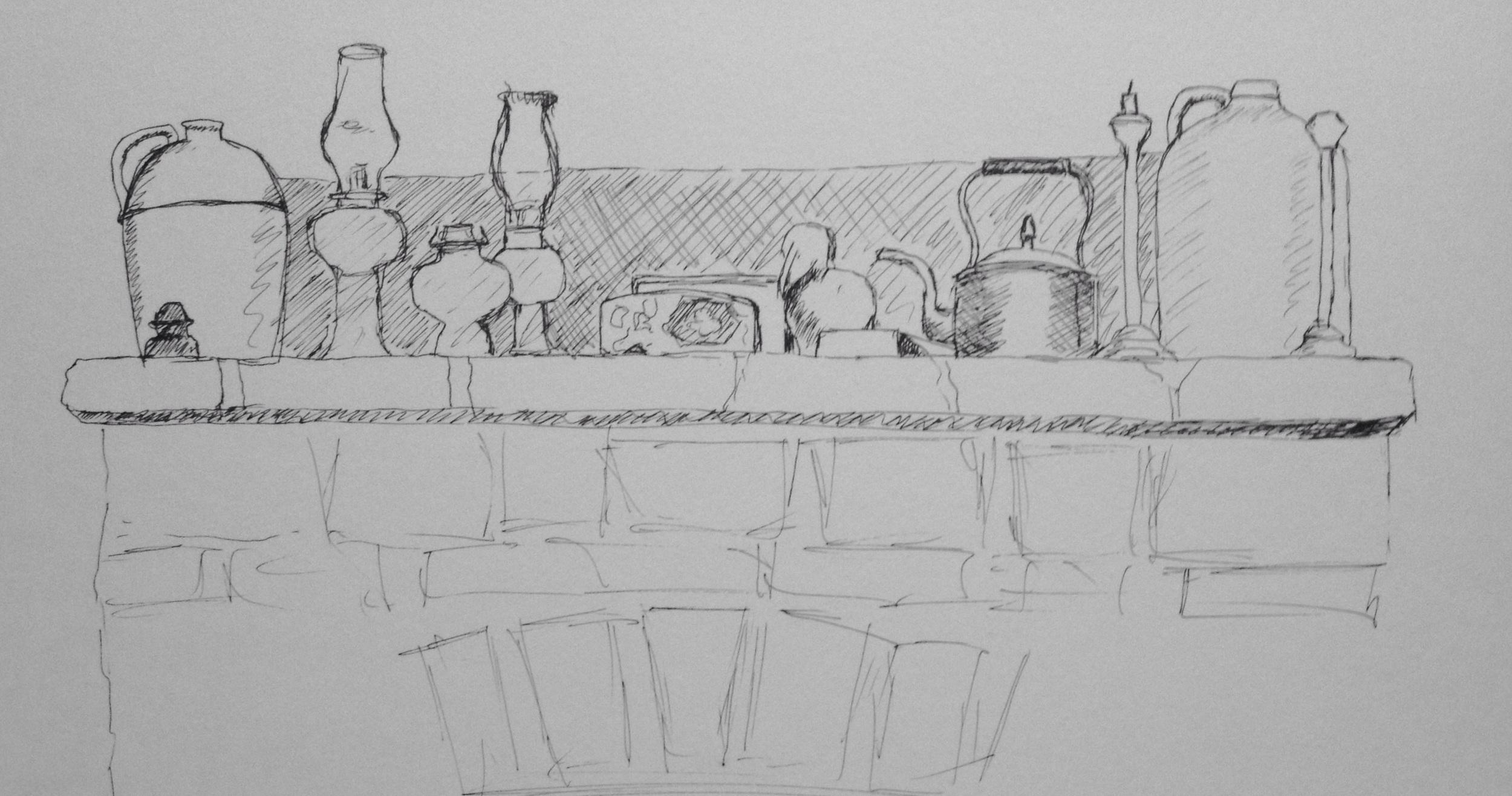 """The Cottage Mantlepiece"". Art journal, ink"