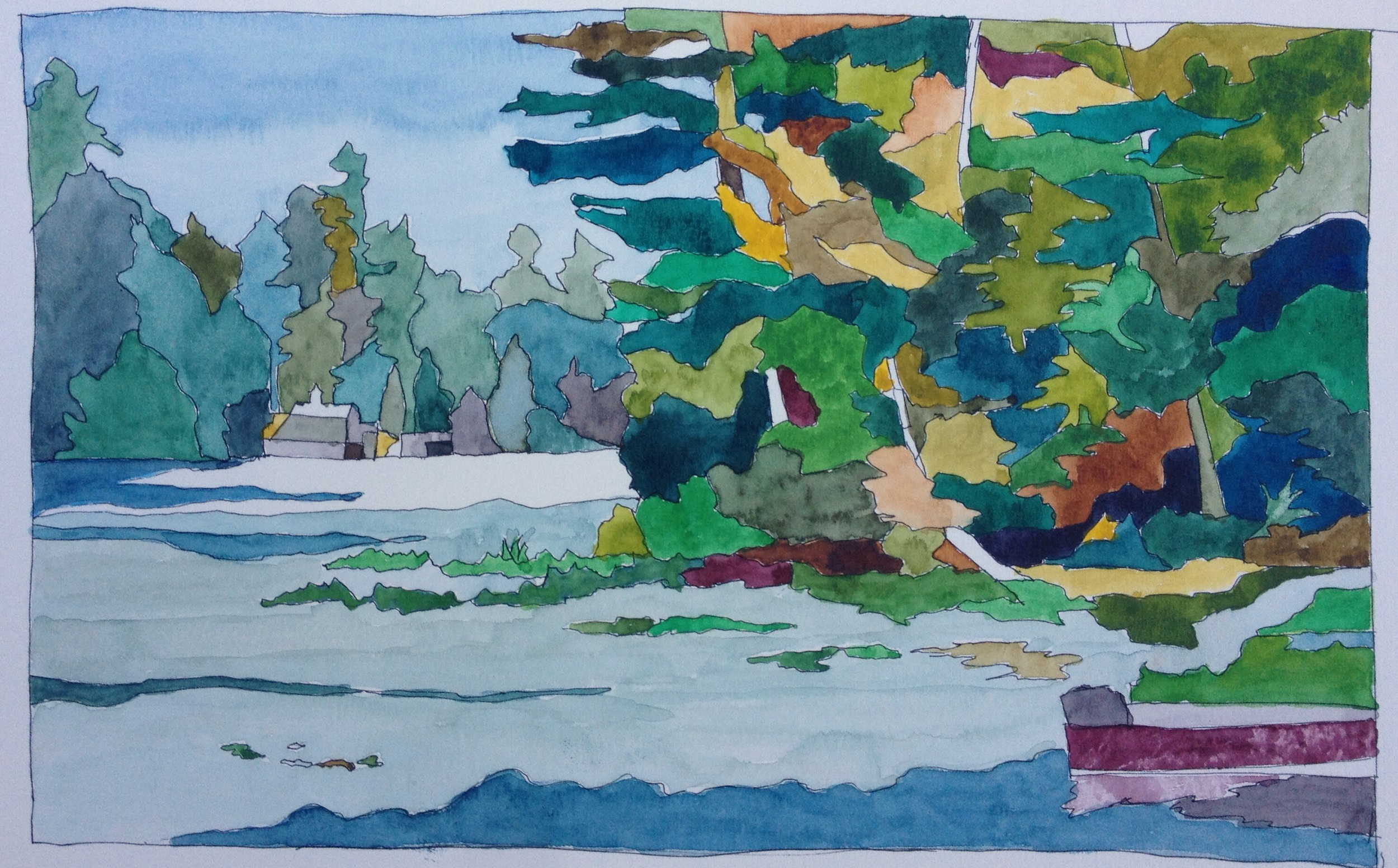 """Whalon Bay, Lake Joseph"". Art journal, watercolour"