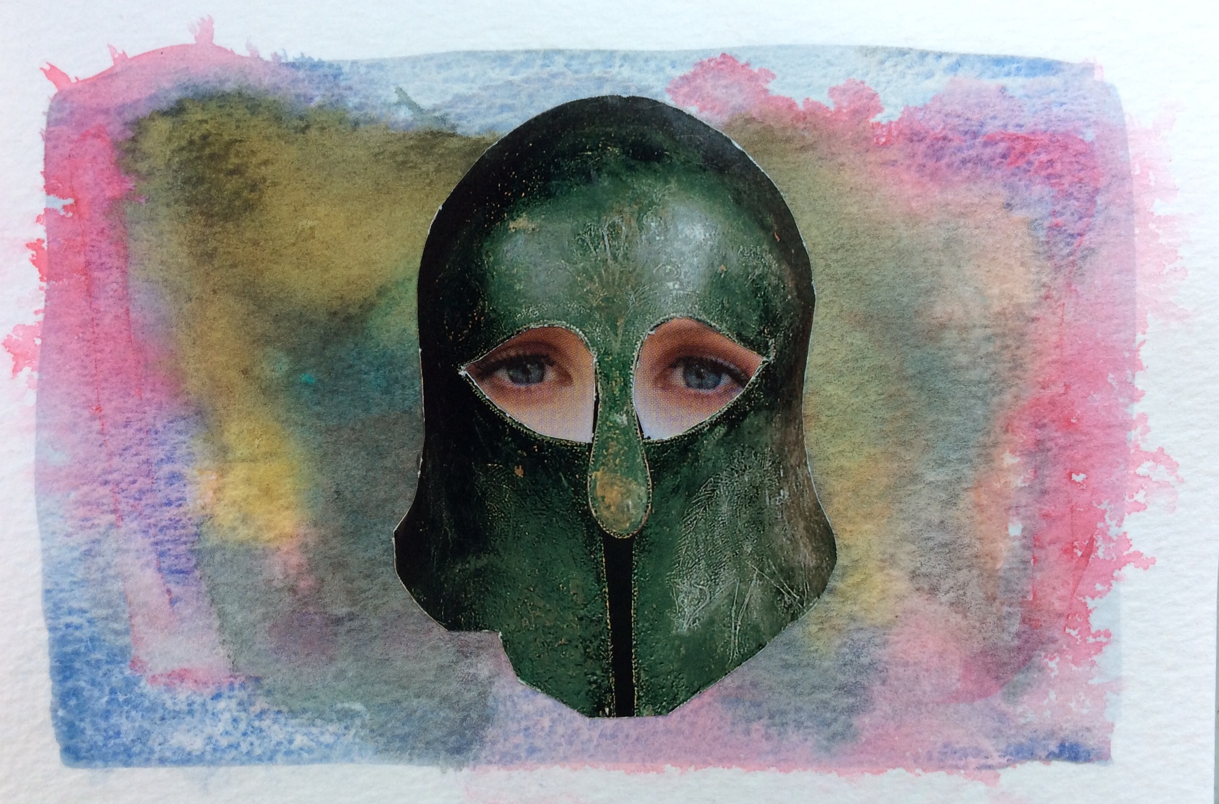"""Watercolour and collage notecard, 5 x 7"""""""