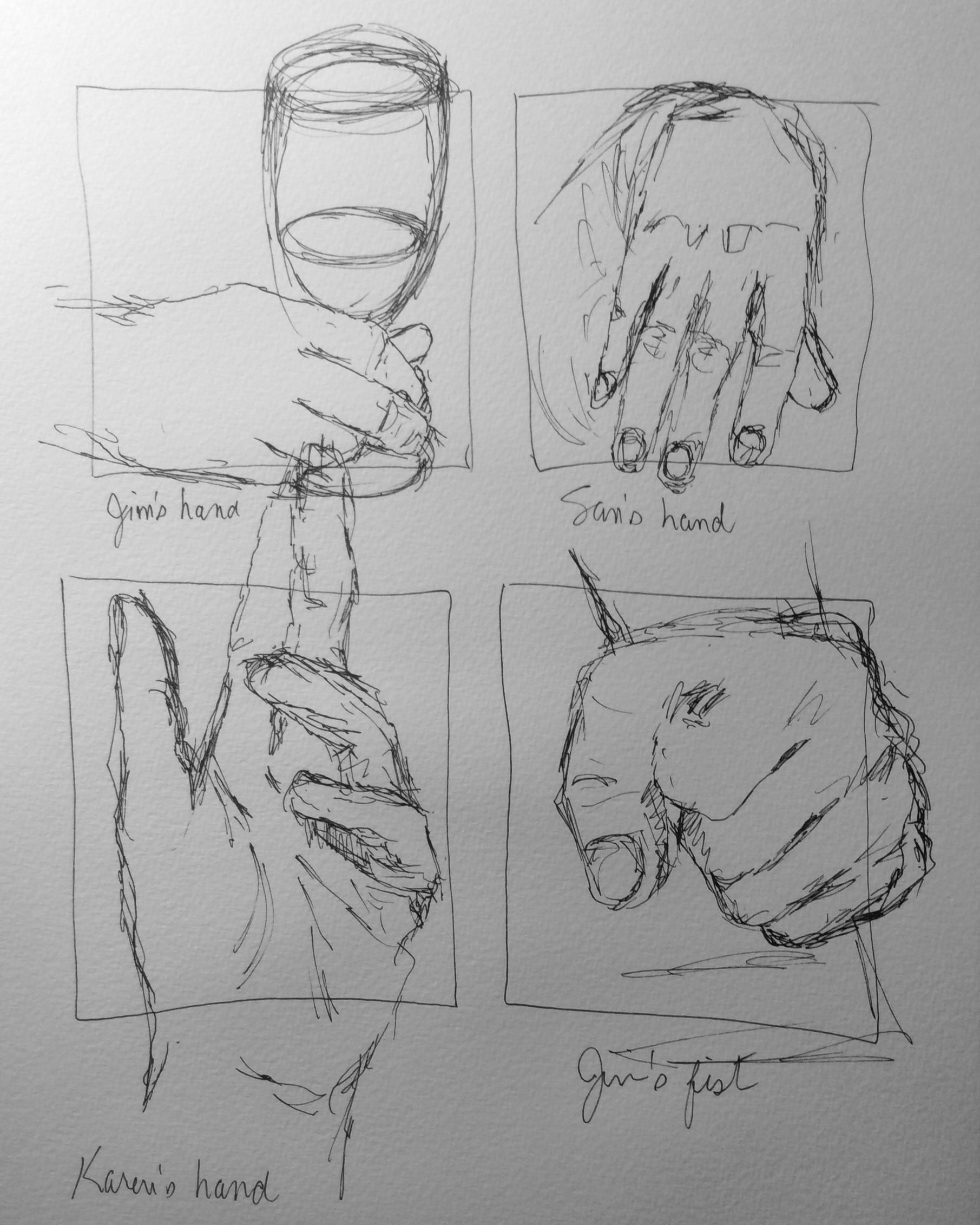 Quick hand sketches, art journal, ink