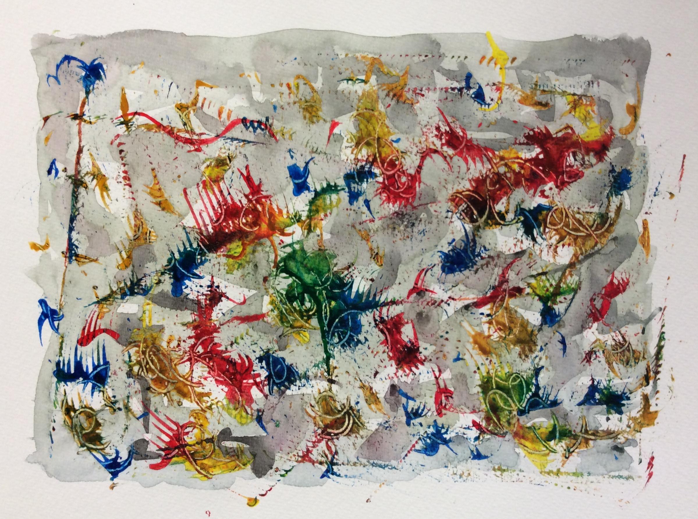 """Upheaval"". Art journal, acrylic and watercolour."