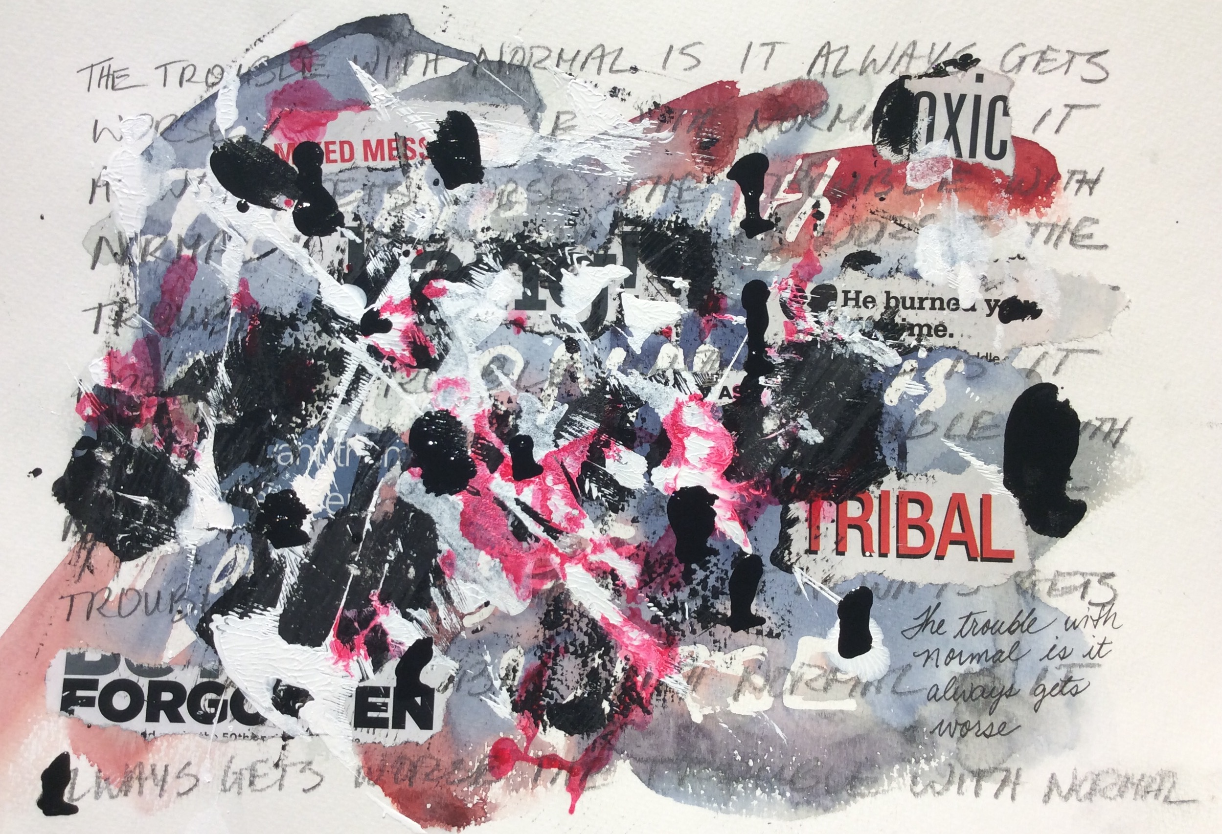 """""""The Trouble with Normal"""". Art journal, mixed media"""