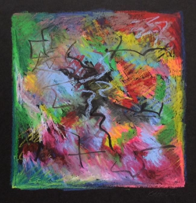 """Freefall"" Oil pastel on black paper"