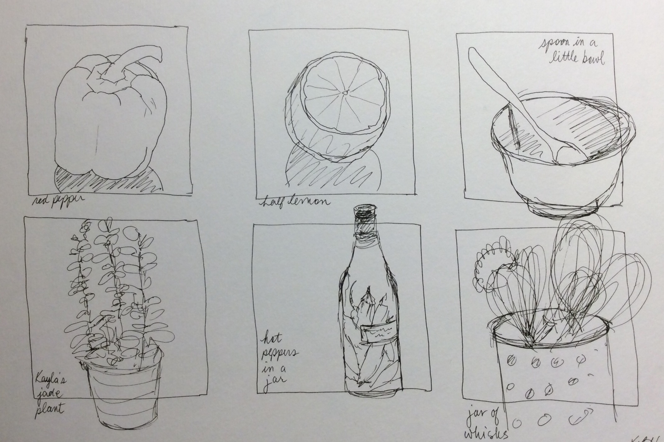 One-minute sketches. Art journal, ink.