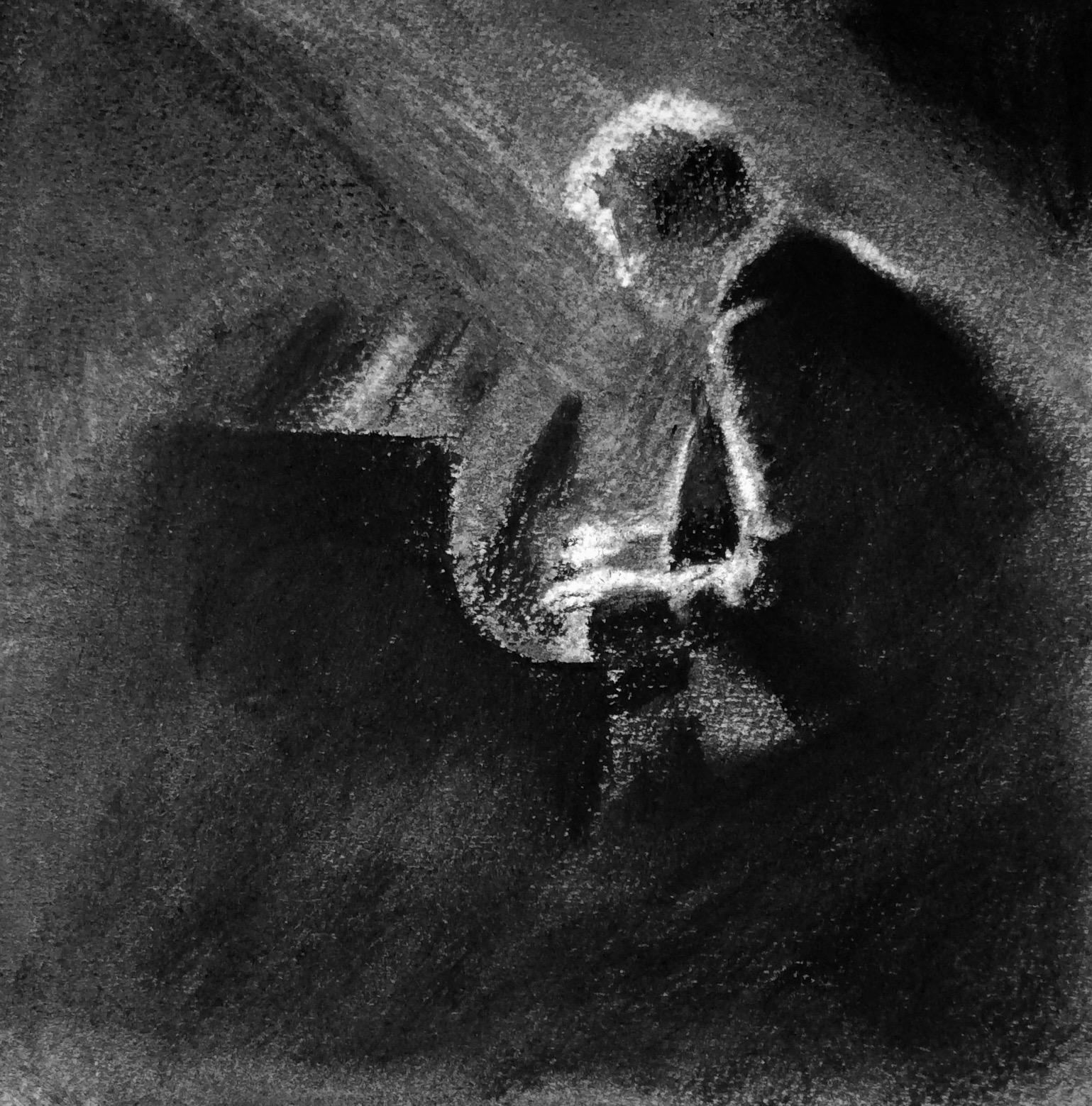 """""""Piano Man"""". Art journal, charcoal"""