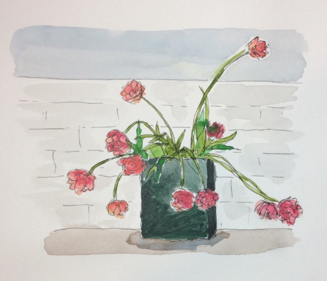 """""""Lucille's Tulips"""" Art journal, watercolour and ink"""