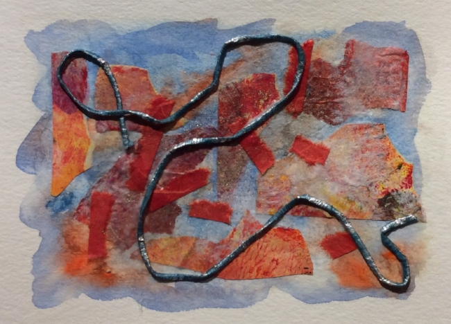 Notecard, watercolour and collage